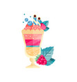 icon of tasty multi-layered dessert with ice-cream vector image vector image
