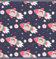 Japanese kawaii cat travels in space seamless