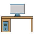 monitor computer in desk vector image