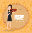 music festival live with woman playing violin vector image