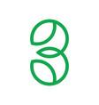number 3 leaf shape line geometric logo