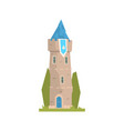 old stone tower with blue pennant ancient vector image vector image