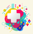 Plus on abstract colorful spotted background with vector image