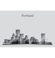 Portland city skyline silhouette in grayscale vector image vector image