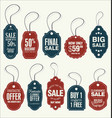 price tags retro vintage blue and red collection vector image vector image