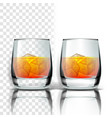 realistic glass with whisky and ice cubes vector image vector image