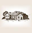 rural landscape engraving vector image vector image