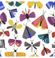 seamless pattern with cartoon moths on white vector image vector image