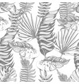 seamless pattern with graphic tropical leaves vector image vector image