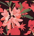 seamless patterns with rhododendron oleander vector image vector image
