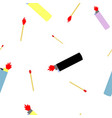 seamless pettern of lighters and wooden matches vector image vector image