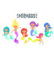 set of cute mermaid character vector image vector image