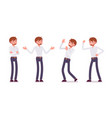 set of young male clerk showing neative emotions vector image vector image