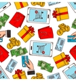 shopping seamless pattern background vector image vector image