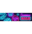 summer sale neon horizontal banner vector image vector image