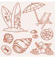 summer seaside doodles vector image vector image