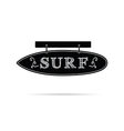 surf icon on signboard in black and white color vector image vector image