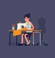 tailor woman at work vector image