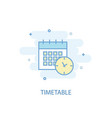 timetable line concept simple line icon colored vector image