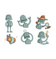 vintage robot character set steampunk robotics in vector image vector image