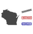 wisconsin state map in halftone dot style with vector image vector image