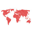world map pattern of valentine heart items vector image vector image