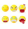 yellow head face cartoon emotion vector image vector image