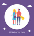 young couple walking in park cartoon icon banner vector image