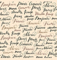 seamless background with ink french inscriptions vector image