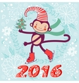 2016 card with cute funny monkey character vector image vector image