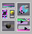 abstract design set in glitch style trendy vector image vector image