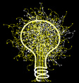 Abstract light bulb on black background vector image vector image