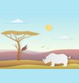 african landscape with rhino and tree vector image vector image