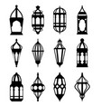 arabic or islamic lanterns set black silhouette vector image
