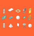 artist workplace icon set isometric view vector image