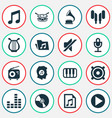 audio icons set collection of file octave vector image
