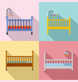 baby crib cradle bed icons set flat style vector image vector image