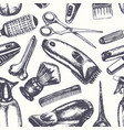 barber equipment - hand drawn seamless pattern vector image vector image