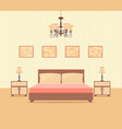 bedroom interior design in flat style including vector image vector image