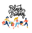 black friday crowd women running to store vector image vector image