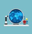businessman use digital radar to scan dollar vector image vector image