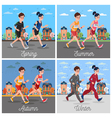 City Marathon Runners Man and Woman Running vector image vector image