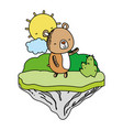 color nice bear animal in the float island vector image vector image