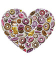 colorful hand drawn set of donuts cartoon vector image vector image