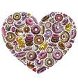 colorful hand drawn set of donuts cartoon vector image