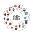 colorful poster of coffee shop with several icons vector image