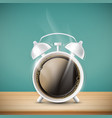 cup of coffee in the form of alarm clock vector image