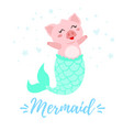 cute pig with mermaid tail vector image
