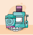dental care floss mouthwash electric brush vector image vector image