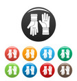 farm gloves icons set color vector image vector image